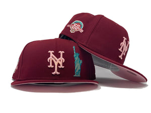 NEW YORK METS STATUE OF LIBERTY 50TH ANNIVERSARY BURGUNDY PINK BRIM NEW ERA FITTED HAT