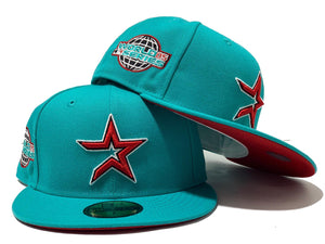 HOUSTON ASTRO 2005 WORLD SERIES TEAL RED BRIM NEW ERA FITTED HAT