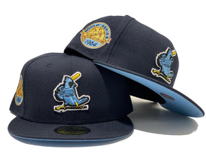 ST. LOUIS CARDINALS 1964 WORLD SERIES NAVY ICY BRIM NEW ERA FITTED HAT