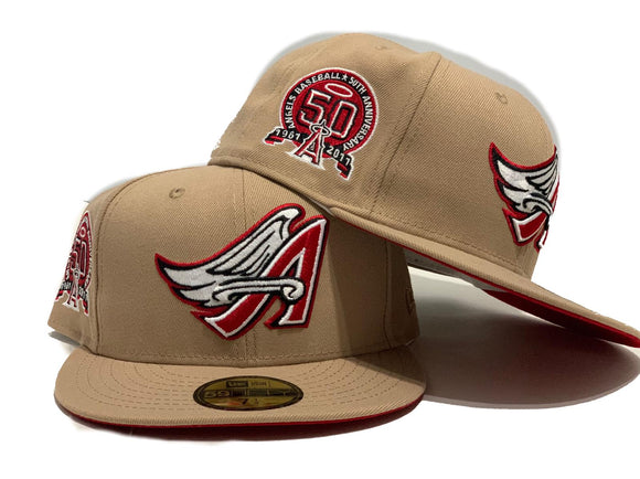 ANAHEIM ANGELS 50TH ANNIVERSARY KHAKHI WITH RED BRIM NEW ERA FITTED HAT