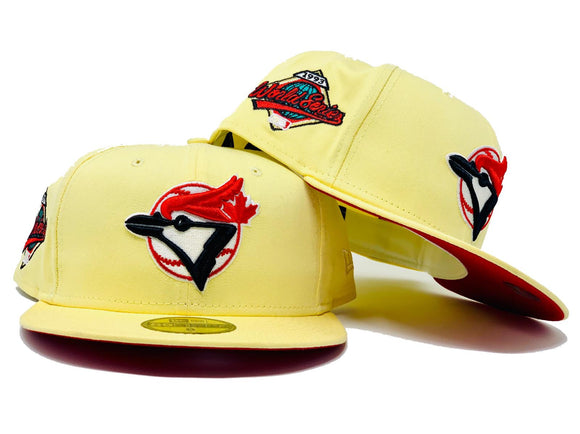 TORONTO BLUE JAYS 1993 WORLD SERIES SOFT YELLOW RED BRIM NEW ERA FITTED HAT