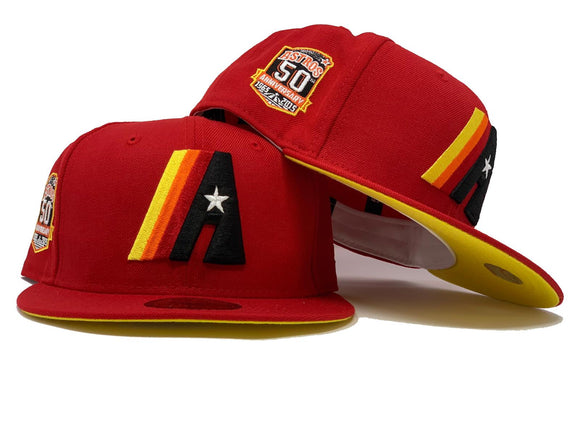 HOUSTON ASTRO 50TH ANNIVERSARY RED YELLOW BRIM NEW ERA FITTED HAT