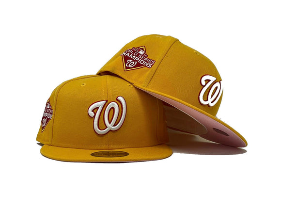 WASHINGTON NATIONALS 2019 WORLD SERIES CHAMPION TAXI YELLOW PINK BRIM NEW ERA FITTED HAT