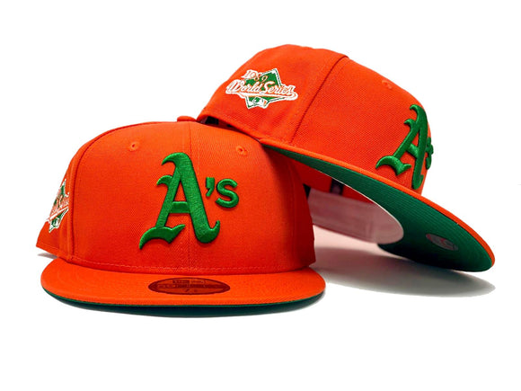 OAKLAND ATHLETICS 1989 WORLD SERIES ORANGE GREEN BRIM NEW ERA FITTED HAT
