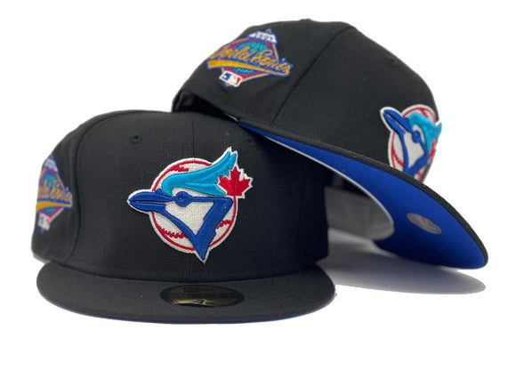 TORONTO BLUE JAYS 1993 WORLD SERIES BLACK ROYAL BRIM NEW ERA FITTED HAT