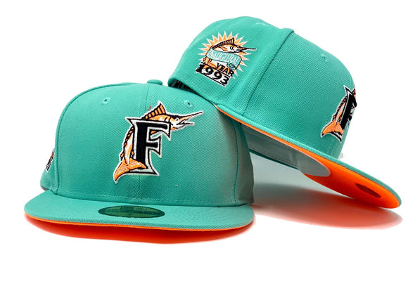 FLORIDA MARLIN 1993 INAUGURAL SEASON SEA GLASS NEON ORANGE BRIM NEW ERA FITTED HAT