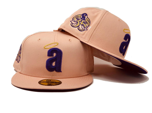 ANAHEIM ANGELS 35TH ANNNIVERSARY BLUSH PURPLE BRIM NEW ERA FITTED HAT