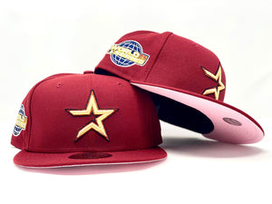 HOUSTON ASTROS 2005 WORLD SERIES BRICK RED PINK BRIM NEW ERA FITTED HAT