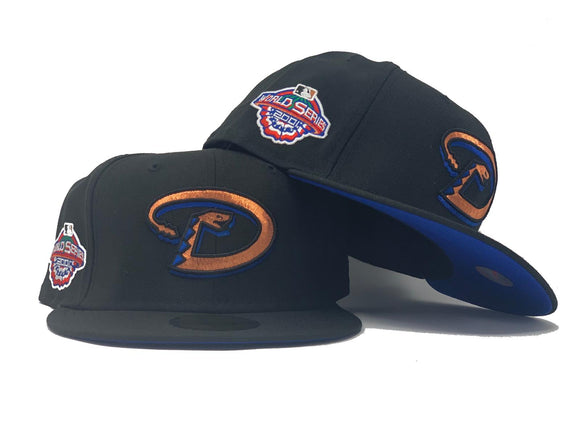 ARIZONA DIAMONDBACKS 2001 WORLD SERIES BLACK ROYAL BLUE BRIM NEW ERA FITTED HAT