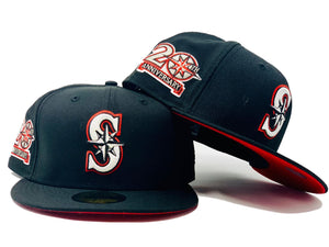 SEATTLE MARINERS 20TH ANNIVERSARY BLACK RED BRIM NEW ERA FITTED HAT