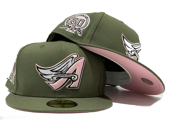 ANAHIEM ANGELS 50TH ANNIVERSARY OLIVE PINK BRIM NEW ERA FITTED HAT