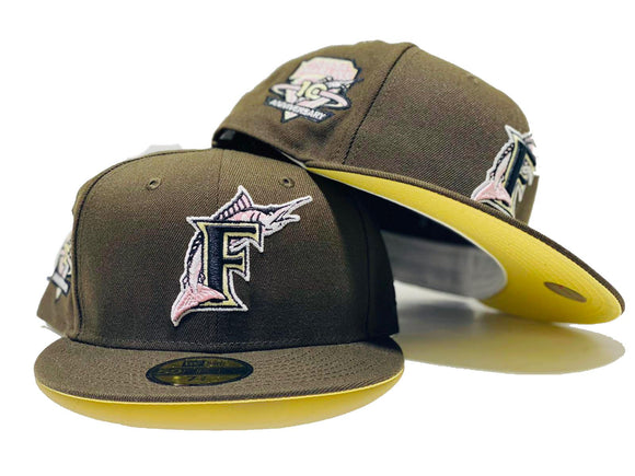 FLORIDA MARLIN 10TH ANNIVERSARY WALNUT SOFT YELLOW BRIM NEW ERA FITTED HAT