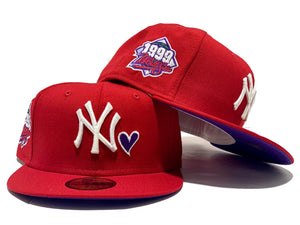 NEW YORK YANKEES 1999 WORLD SERIES HEART LOGO RED PURPLE BRIM NEW ERA FITTED HAT