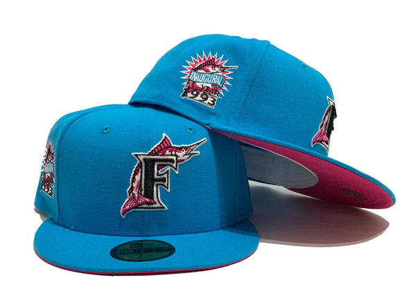 FLORIDA MARLIN 1993 INAUGURAL SEASON BRIGHT BLUE FUSION PINK BRIM NEW ERA FITTED HAT