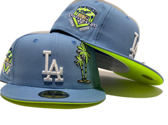 LOS ANGELS DODGERS 60TH SEASON SKY BLUE NEON GREEN BRIM NEW ERA FITTED HAT