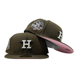 HOUSTON ASTRO MOCHA COLOR 45TH ANNIVERSARY PINK BRIM NEW ERA FITTED HAT