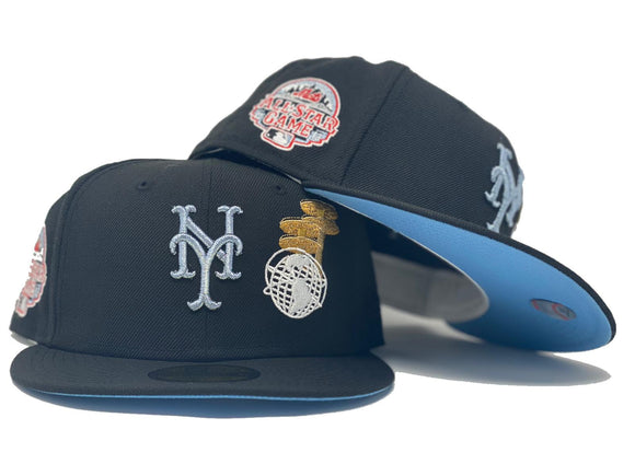 NEW YORK METS 2013 ALL STAR GAME CORONA PARK GLOBE LOGO BLACK ICY BRIM NEW ERA FITTED HAT