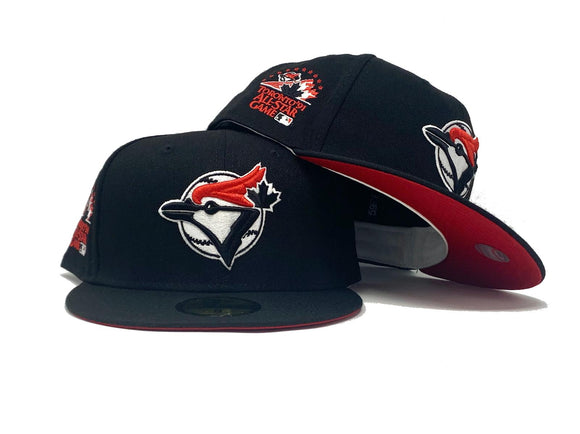 TORONTO BLUE JAYS 1991 ALL STAR GAME BLACK RED BRIM NEW ERA FITTED HAT