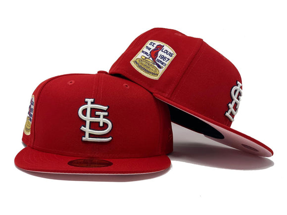 ST. LOUIS CARDINALS 1967 WORLD SERIES RED PINK BRIM NEW ERA FITTED HAT