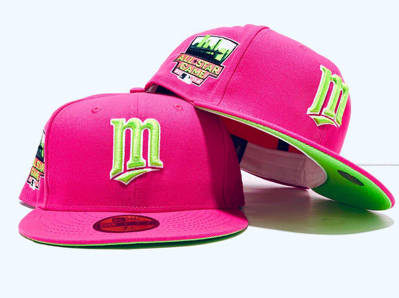 MINNESOTA TWINS 2014 ALL STAR  GAME FUSION PINK LIME GREEN BRIM NEW ERA FITTED HAT