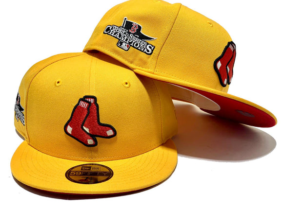 BOSTON RED SOX 2013 WORLD SERIES CHAMPIONSHIP TAXI YELLOW RED BRIM NEW ERA 59 FIFTY FITTED HAT