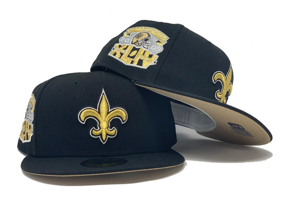 NEW ORLEANS SAINTS 2009 SUPER BOWL CHAMPION BLACK BEIGE BRIM NEW ERA FITTED HAT