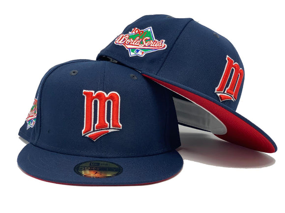 MINNESOTA TWINS 1991 WORLD SERIES NAVY RED BRIM NEW ERA FITTED HAT