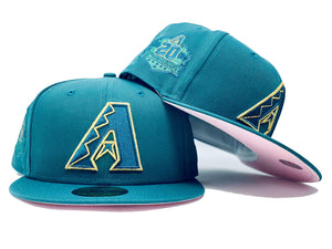 ARIZONA DIAMONDBACKS 20TH ANNIVERSARY AQUA PINK BRIM NEW ERA FITTED HAT