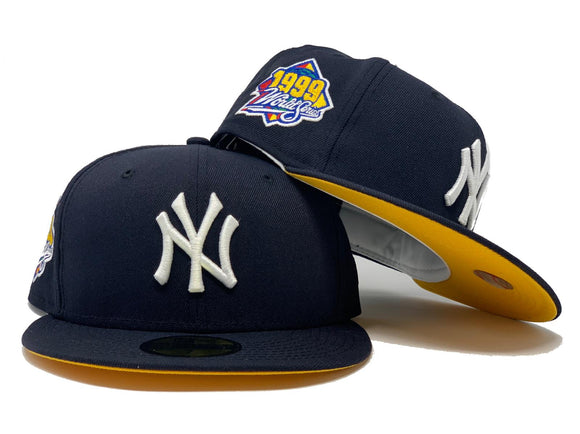 NEW YORK YANKEES 1999 WORLD SERIES NAVY YELLOW BRIM NEW ERA FITTED HAT