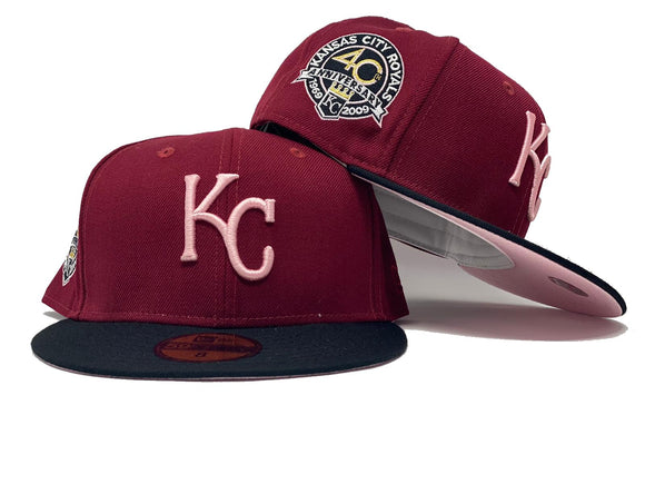 KANSAS CITY ROYALS 40TH ANNIVERSARY BURGUNDY CAP BLACK VISOR PINK BRIM NEW ERA FITTED HAT