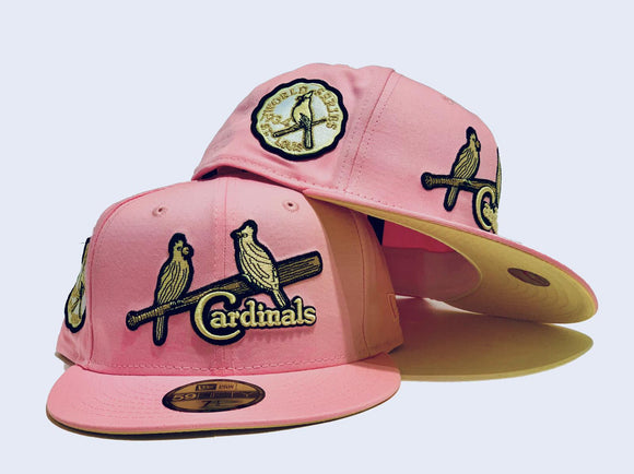 ST. LOUIS CARDINALS 1934 WORLD SERIES LIGHT PINK BUTTER POPCORN SOFT YELLOW BRIM NEW ERA FITTED HAT