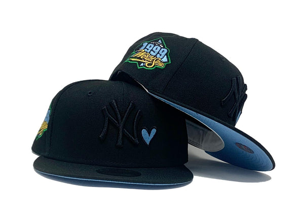 NEW YORK YANKEES WITH HEART 1999 WORLD SERIES BLACK ICY BRIM NEW ERA FITTED HAT