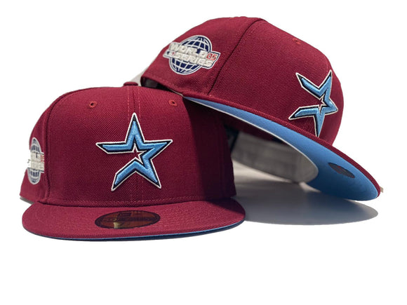 HOUSTON ASTRO 2005 WORLD SERIES BURGUNDY ICY BRIM NEW ERA FITTED HAT