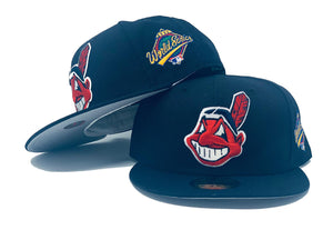 CLEVELAND INDIANS 1997 WORLD SERIES NAVY GRAY BRIM NEW ERA FITTED HAT