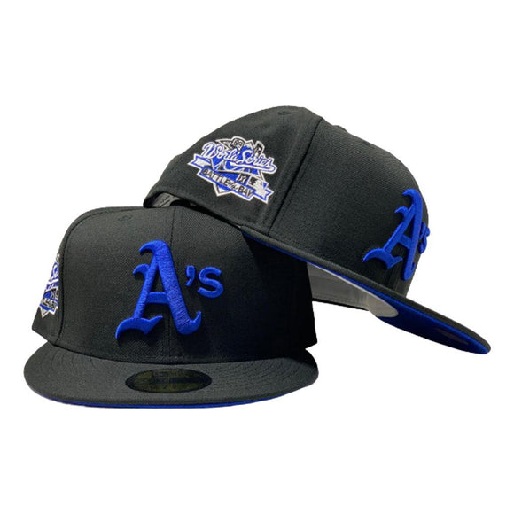 OAKLAND ATHLETICS 1989 BATTLE OF THE BAY BLACK ROYAL BRIM NEW ERA FITTED HAT