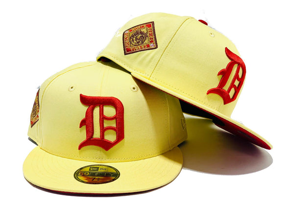 DETROIT TIGERS 1945 WORLD SERIES SOFT YELLOW RED BRIM NEW ERA 59 FIFTY FITTED HAT