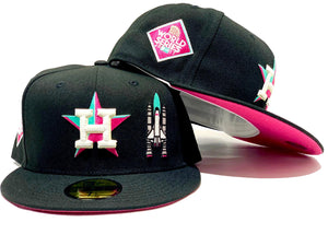 HOUSTON ASTRO ROCKET SHIP 2017 WORLD SERIES BLACK FUSION PINK UNDER VISOR NEW ERA FITTED HAT