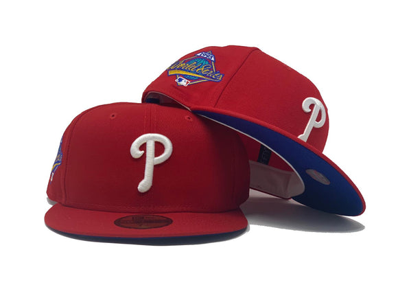 PHILADELPHIA PHILLIES 1993 WORLD SERIES RED ROYAL BLUE BRIM NEW ERA FITTED HAT