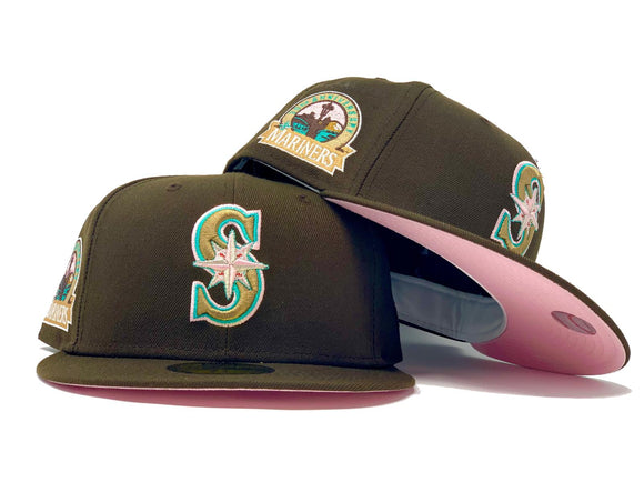 SEATTLE MARINERS 30TH ANNIVERSARY WALNUT PINK BRIM NEW ERA FITTED HAT
