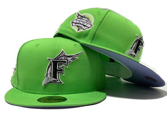 FLORIDA MARLIN 2003 WORLD SERIES CHAMPION LIME GREEN LAVENDER BRIM NEW ERA FITTED