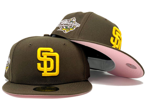 SAN DIEGO PADRES 1998 WORLD SERIES BROWN PINK BRIM NEW ERA FITTED HAT