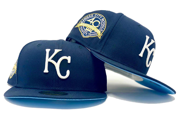 KANSAS CITY ROYALS 40TH ANNIVERSARY NAVY BLUE ICY BRIM NEW ERA FITTED HAT