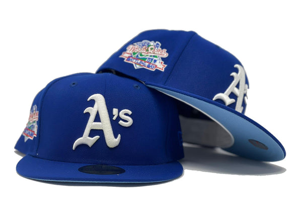 OAKLAND ATHLETICS 1989 BATTLE OF THE BAY ROYAL ICY BRIM NEW ERA FITTED HAT