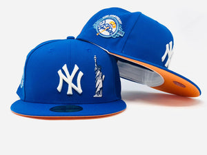 NEW YORK YANKEES 100TH ANNIVERSARY STATUE OF LIBERTY ROYAL LIGHT ORANGE BRIM NEW ERA FITTED HAT