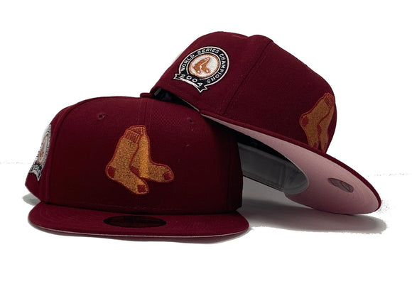 BOSTON RED SOX 2004  WORLD SERIES CHAMPIONS BURGUNDY PINK BRIM NEW ERA FITTED HAT