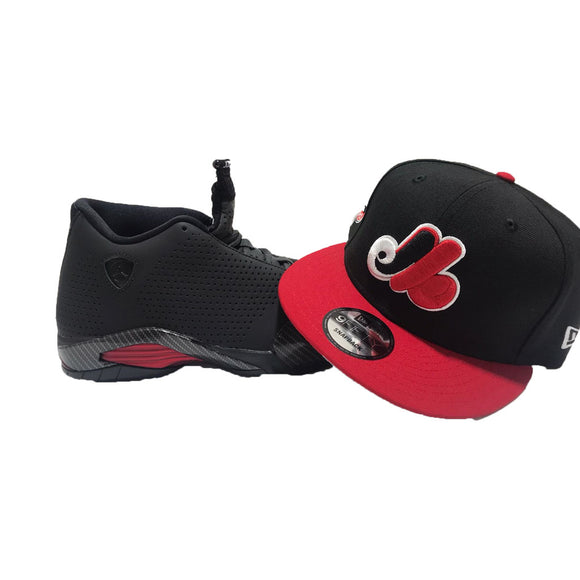 AIR JORDAN 14  RETRO BLACK FERRARI MATCHING MONTREAL EXPOS  NEW ERA SNAPBACK