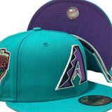 ARIZONA DIAMONDBACKS 1998 INAUGURAL SEASON TEAL PURPLE BRIM NEW ERA FITTED HAT