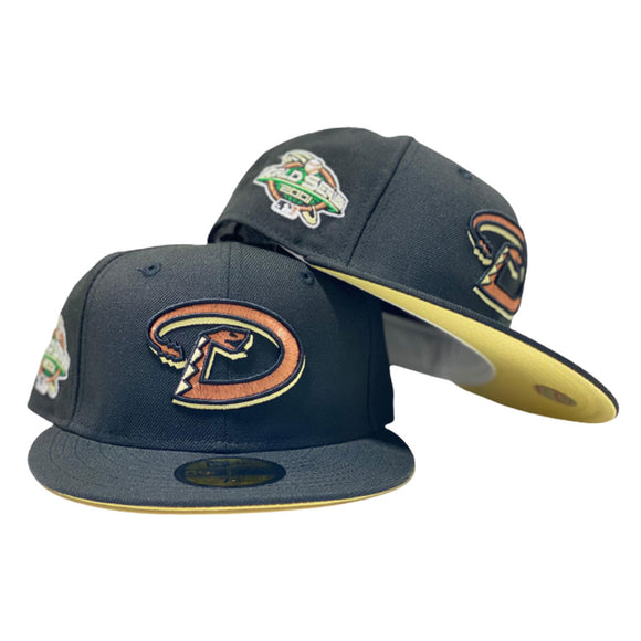ARIZONA DIAMONDBACKS 2001 WORLD SERIES BLACK BUTTER POPCORN SOFT YELLOW   BRIM NEW ERA FITTED HAT