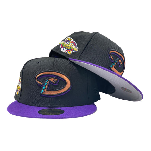 ARIZONA DIAMONDBACKS 2001 WORLD SERIES BLACK PURPLE GRAY BRIM NEW ERA FITTED HAT