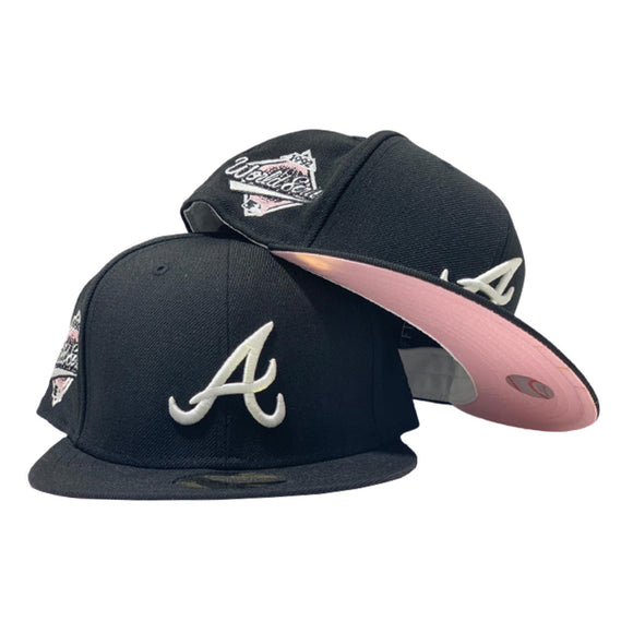 ATLANTA BRAVES 1992 WORLD SERIES BLACK CAP PINK BRIM NEW ERA FITTED HAT